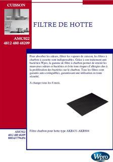 Image sur Filtre charbon pour hotte type AKR431-AKR804 - AMC022