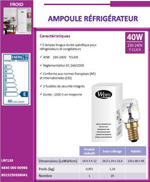 Image de Ampoule pour réfrigérateurs TCLICK - T25 - 40W - LFR133