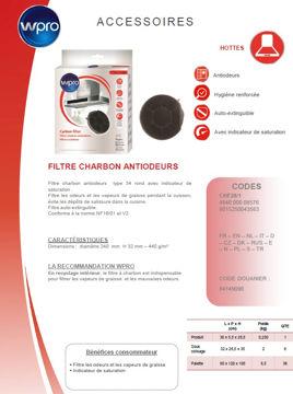 Image de Filtre à charbon Type 28 450g/m2 diam 24cm- CHF28/1