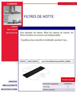 Image sur Filtre de Hotte pour hotte AKR994, AKR809 AMC035