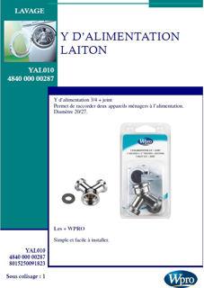 Image sur Y d alimentation en laiton - YAL100