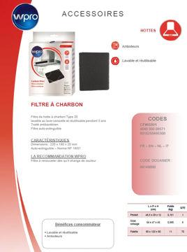 Image de Filtre à charbon Type 20 160 g/m² -22x18x2 cm - CFW020/1