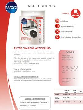 Image de Filtre de hotte à charbon E233 diam 23,5cmx2cm- CHFE233/2