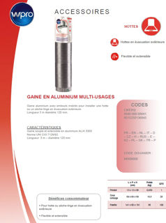 Image sur Gaine de hotte aluminium 3 m - diam 120 mm- CHT312