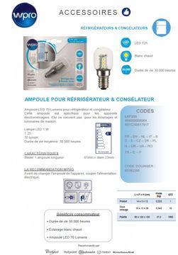 Image de Ampoule LED 70 Lumens réfrigérateur congélateur- LRF200